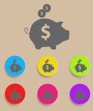 Sparschwein - Einsparungsgeldikone mit Farbe Lizenzfreie Stockfotos