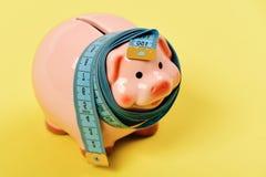 Sparschwein gebunden mit messendem Band Investitionen und Messen oder Zählung von Idee Budget und zusammengedrückte Einsparungen stockbilder
