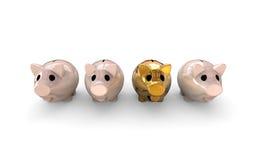 Sparschwein im Gold Stockfoto