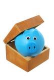 Sparschwein im Kasten Lizenzfreie Stockfotos