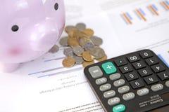 Sparschwein, Münzen und Taschenrechner auf Diagrammen Lizenzfreie Stockfotografie