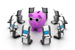 Sparschwein mit ATM Stockbild