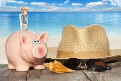 Sparschwein mit Banknoten auf dem Strand stockfotografie