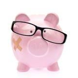 Sparschwein mit Brillen Lizenzfreie Stockfotografie