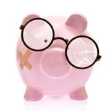 Sparschwein mit defekten Brillen Lizenzfreies Stockfoto