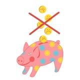 Sparschwein mit einem Münze-traurigen smiley Stockbild