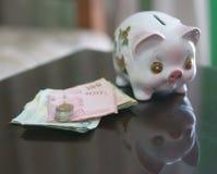 Sparschwein mit Einsparung stockbild