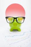 Sparschwein mit Flagge auf Hintergrund - Japan Stockfotos