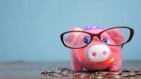 Sparschwein mit Glasbuchhalter-Finanzierkonzept Wachsendes Geld und Sparschwein des Geldstapelstapelschrittes Konzept stock video footage