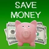 Sparschwein mit hundert Dollarscheinen Stockfotografie
