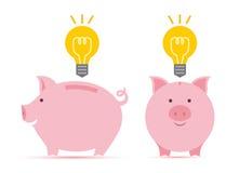 Sparschwein mit Idee Lizenzfreie Stockbilder