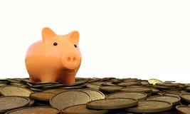 Sparschwein mit Münzen Stockfotos