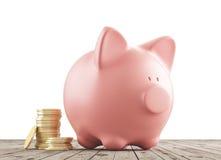 Sparschwein mit Münzen lizenzfreies stockfoto