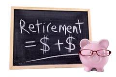 Sparschwein mit Ruhestandsformel Lizenzfreies Stockfoto