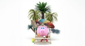 Sparschwein mit Sonnenbrille-Getränk-Cocktail auf dem Strandurlaub 3d übertragen Illustration 3d Lizenzfreies Stockbild