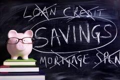 Sparschwein mit Spareinlagenmitteilung Lizenzfreie Stockbilder