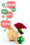 Sparschwein mit Spracheblasen Glückliches Einkaufenmädchen auf weißem Hintergrund Stockbild