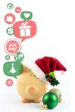 Sparschwein mit Spracheblasen Glückliches Einkaufenmädchen auf weißem Hintergrund Lizenzfreies Stockbild