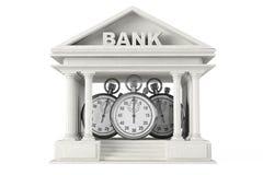 Sparschwein mit Stoppuhr auf einem weißen Hintergrund Bankgebäude mit Stoppuhr Stockfotografie