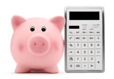 Sparschwein mit TaschenrechnerBilanzauffassung und Spareinlagen Stockfotos