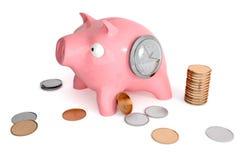 Sparschwein mit Uhren und Münzen lizenzfreies stockfoto