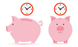 Sparschwein mit Zeit Stockbilder