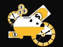 Sparschwein mit Zeit und Geld lizenzfreie abbildung
