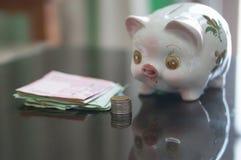 Sparschwein schaut Münzen und Banknote lizenzfreie stockfotos