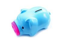 Sparschwein-Seite auf weißem Hintergrund Lizenzfreies Stockfoto
