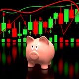 Sparschwein und Aktienkurve Stockfoto