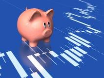 Sparschwein und Aktienkurve Lizenzfreies Stockbild