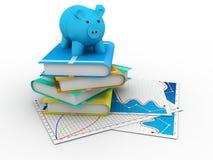 Sparschwein und Bücher Lizenzfreies Stockfoto