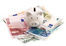 Sparschwein- und Eurobanknoten lokalisiert auf Weiß Stockbild
