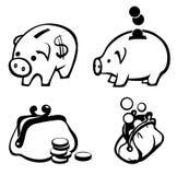 Sparschwein- und Geldbeutelikonen Stockfoto