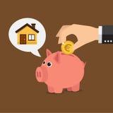 Sparschwein und Haus (Euro) Stockbilder