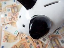 Sparschwein- und viele fünfzig Eurobanknotenspareinlagen-Investitionskonzept lizenzfreie stockfotografie