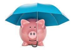 Sparschwein unter blauem Regenschirm, Wiedergabe 3D Lizenzfreie Stockbilder