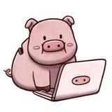 Sparschwein unter Verwendung Computer- lokalisiert im weißen Hintergrund Lizenzfreie Stockfotografie