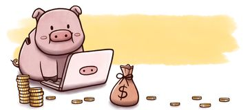 Sparschwein unter Verwendung des Computers, zum - der Fahne mit Aquarellhintergrund zu investieren Lizenzfreies Stockfoto
