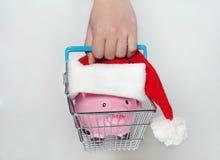 Sparschwein-Weihnachten für Ihre großen Kaufgeschenke stockbilder