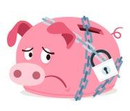 Sparschwein, weil angekettet erhalten Sie Stockbild