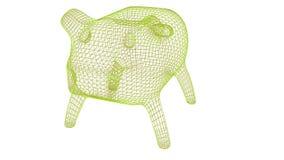 Sparschwein wireframe Polymasche 3d übertragen Illustration stock abbildung