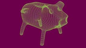 Sparschwein wireframe Polymasche 3d übertragen Illustration vektor abbildung
