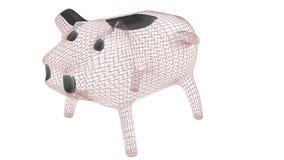 Sparschwein wireframe Polymasche 3d übertragen Illustration lizenzfreie abbildung