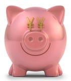 Sparschwein-Yen Stockfoto
