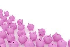 Sparschweine in der Ecke mit copyspace Stockfotografie