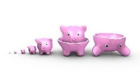 Sparschweine ersetzen die russischen Puppen Hände, die Stapel der Münzen schützen vektor abbildung