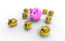 Sparschweine mit Goldminisparschweinen Stockbilder