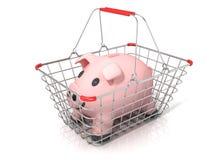 Sparschweingeldkasten, der im Stahldraht-Einkaufskorb steht Lizenzfreies Stockfoto