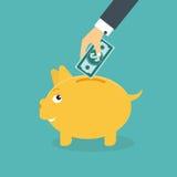 Sparschweingeldkasten mit der Hand stock abbildung